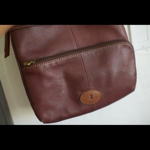 Leather Fossil brown crossbody purse